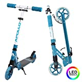 Apollo Scooter LED - Skyracer mit Led Wheels 145mm City Scooter mit Federung,...
