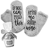 """Wein Kuschel-Socken """"If You can read this bring me some wine"""" lustiges..."""