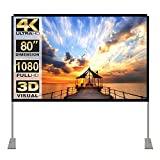 Projektion Leinwand mit Stand 80 Zoll HD 4K Outdoor Indoor Projector Screen...